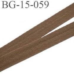 biais galon ruban sergé 15 mm couleur marron clair 100%  coton souple et doux largeur 15 mm prix au mètre