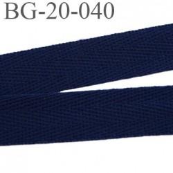 Biais sergé 20 mm ruban galon100 % coton largeur 20 mm couleur bleu marine foncé souple et très doux prix au mètre