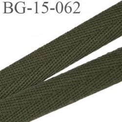 biais sergé 15 mm galon ruban  100 % coton superbe souple et doux  couleur vert kaki largeur 15 mm prix au mètre