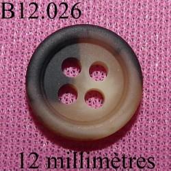 bouton 12 mm   couleur anthracite mat et marron marbré sur sur les 2 faces  4 trous diamètre 12 millimètres