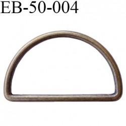 Etrier boucle 50 mm en métal couleur bronze laiton vieilli largeur intérieur 50 mm largeur extérieur 58 mm hauteur 35 mm