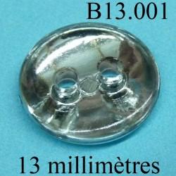 bouton 13 mm   couleur brillant chromé miroir sur une face et transparent sur l'autre 2 trous diamètre 12 millimètres