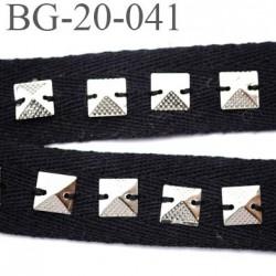 Biais sergé 20 coton avec strass cousu chromé couleur noir souple et  doux largeur 20 mm