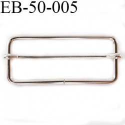 Etrier boucle 50 mm coulissante en métal couleur chromé brillant largeur intérieur 50 mm largeur extérieur 56 mm hauteur 25 mm