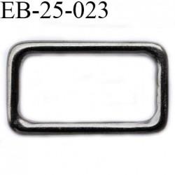 Boucle étrier  25 mm rectangle  métal  couleur acier largeur extérieur 3.1 cm intérieur 2.5 cm hauteur extérieur 18 mm