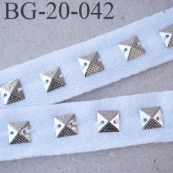 Biais sergé 20 mm coton avec strass cousu chromé couleur blanc souple et doux largeur 20 mm prix au mètre