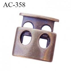 Stop cordon bronze double trou diamètre intérieur 5 mm hauteur 19 mm largeur 18 mm épaisseur 6 mm très haut de gamme