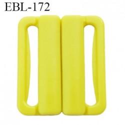 boucle clip 25 mm attache réglette pvc spécial maillot de bain couleur jaune vert anis  largeur intérieur 25 mm  haut de gamme