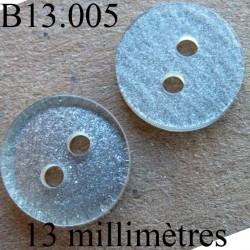 bouton 13 mm   couleur  gris pailleté  brillant 2 trous diamètre 12 millimètres