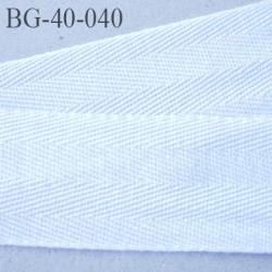 biais sergé 40 mm galon ruban 100 % coton largeur 40 mm couleur blanc
