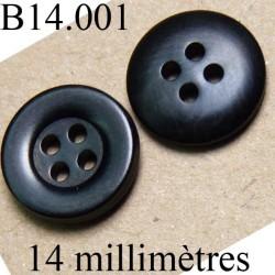 bouton 14 mm   couleur  noir  brillant 4 trous diamètre 14 millimètres