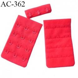 Agrafe attache 42 mm rallonge extension de soutien gorge 4 rangés 3 crochets largeur 42 mm hauteur 70 mm couleur  rouge