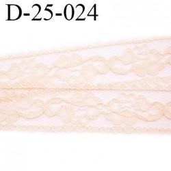 Dentelle 25 mm synthétique couleur rose pale largeur 25 mm motif fleur prix au mètre
