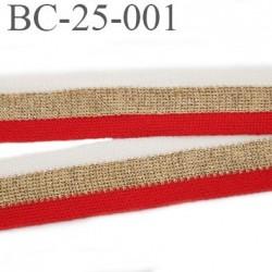 Bord-Côte 25 mm bord cote jersey synthétique couleur blanc rouge et or doré largeur 25 mm longueur 1 mètre