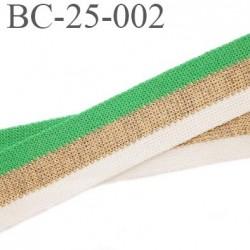 Bord-Côte 25 mm bord cote jersey maille synthétique couleur blanc vert et or doré largeur 25 mm longueur 1 mètre