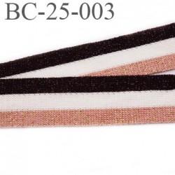 Bord-Côte 25 mm bord cote jersey synthétique couleur blanc noir et rose et or doré largeur 25 mm prix au mètre