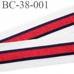 Bord-Côte 38 mm bord cote jersey maille  synthétique couleur bleu blanc rouge  largeur 38 mm prix au mètre