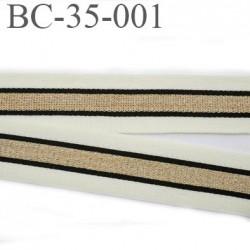 Bord-Côte 35 mm bord cote jersey maille  synthétique couleur écru noir et or doré  largeur 35 mm prix au mètre