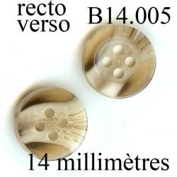 bouton 14 mm   couleur marbré beige et marron 4 trous 14 millimètres