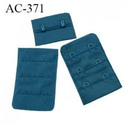 Agrafe attache 38 mm rallonge extension de soutien gorge 3 rangés 2 crochets largeur 38 mm hauteur 55 mm couleur bleu vert