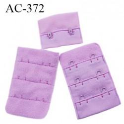 Agrafe attache 38 mm rallonge extension de soutien gorge 3 rangés 2 crochets largeur 38 mm hauteur 55 mm couleur myosotis lilas