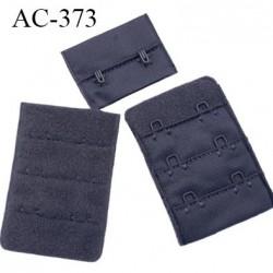 Agrafe attache 38 mm rallonge extension soutien gorge 3 rangés 2 crochets largeur 38 mm hauteur 55 mm couleur anthracite caviar