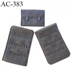 Agrafe attache 38 mm rallonge extension de soutien gorge 3 rangés 2 crochets largeur 38 mm hauteur 55 mm couleur kaky  muscade
