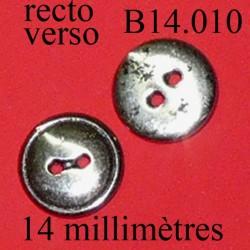 bouton 14 mm en métal avec des éclats de peinture noir superbe  14 millimètres