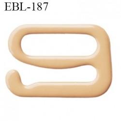 Crochet métal 10 mm plastifié couleur chair largeur intérieur de passage de bretelle 10 mm hauteur 9.5 mm haut de gamme