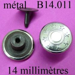 bouton 14 mm pour jeans en métal chromé facile à posé 14 millimètre