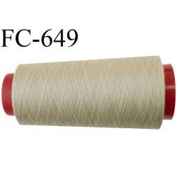 CONE de 2000 m fil polyester fil n° 120 couleur mastic longueur de 2000 mètres bobiné en France