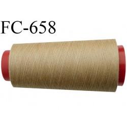 CONE de 2000 m fil polyester fil n° 120 couleur beige longueur de 2000 mètres bobiné en France