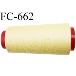 CONE de 2000 m fil polyester fil n° 120 couleur jaune pale longueur de 2000 mètres bobiné en France