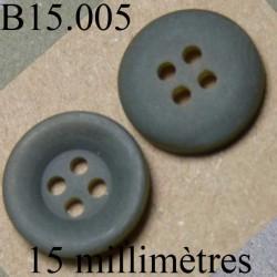 bouton 15 mm   couleur  gris foncé mat 4 trous diamètre 15 millimètres