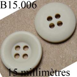 bouton 15 mm   couleur  beige mat 4 trous diamètre 15 millimètres