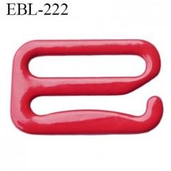 Crochet 19 mm de réglage bretelle  soutien gorge en métal laqué rouge brillant largeur intérieur 19 mm largeur extérieur 25 mm