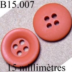 bouton 15 mm   couleur corail mat 4 trous diamètre 15 millimètres