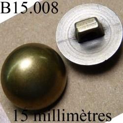 bouton 15 mm couleur doré accroche avec un anneau diamètre 15 millimètres