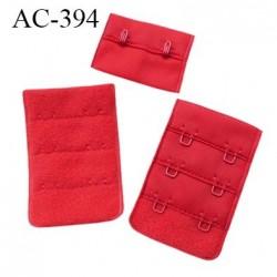 Agrafe attache 38 mm rallonge extension de soutien gorge 3 rangés 2 crochets largeur 38 mm hauteur 55 mm couleur rouge