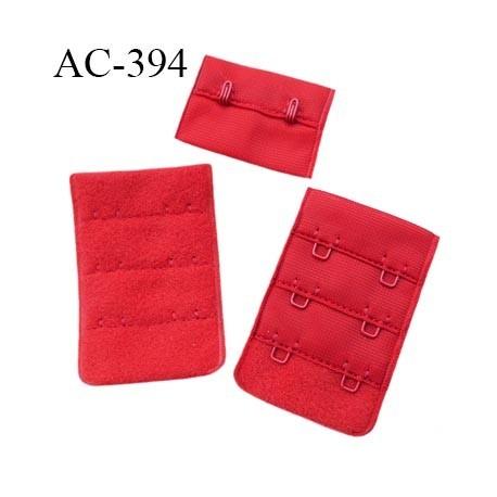 070853197b132 Agrafe attache 38 mm rallonge extension de soutien gorge 3 rangés 2  crochets largeur 38 mm hauteur 55 mm couleur rouge - mercerie-extra