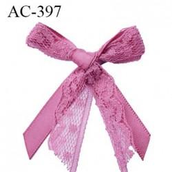 Noeud décor dentelle lingerie couleur vieux rose haut de gamme largeur 43 mm hauteur 46 mm haut de gamme
