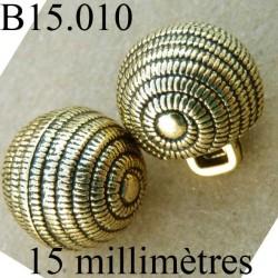 bouton 15 mm couleur doré avec incrustation noir accroche avec un anneau  diamètre 15 millimètres