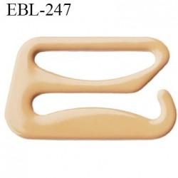 Crochet 15 mm de réglage de bretelle  soutien gorge en métal chair brillant largeur intérieur 15 mm largeur extérieur 20.8 mm