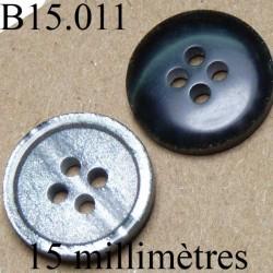 bouton 15 mm   couleur  gris mabré très brillant une face et noir brillant l'autre face 4 trous diamètre 15 millimètres