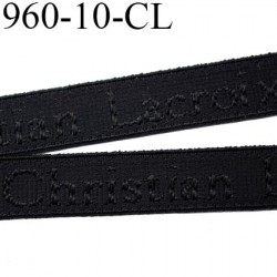 élastique 10 mm bretelle lingerie de marque Christian Lacroix inscription en surpiquage couleur noir largeur 10 mm prix au mètre