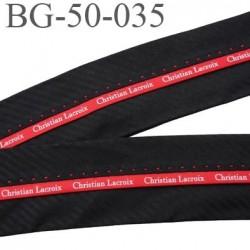 Galon ruban 50 mm ganse rehausse sangle couleur noir et rouge inscription Christian Lacroix haut de gamme prix au mètre