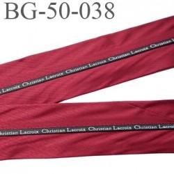 galon ruban 50 mm ganse rehausse couleur bordeaux inscription Christian Lacroix haut de gamme prix au mètre
