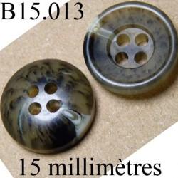 bouton 15 mm   couleur   mabré 4 trous diamètre 15 millimètres