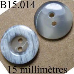 bouton 15 mm   couleur gris  mabré  4 trous diamètre 15 millimètres