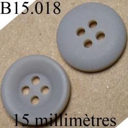bouton 15 mm   couleur gris mat 4 trous diamètre 15 millimètres